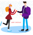 man and woman skating christmas background vector image