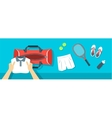 Man puts tennis stuff into sport bag banner vector image vector image