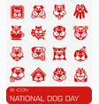 national dog day icon set vector image