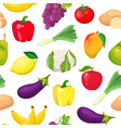 pattern with fruits and vegetables vector image