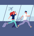 people in airport young couple run to airplane vector image vector image