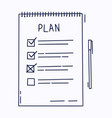 plan or to do list concept with hand drawn text vector image
