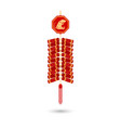 red chinese firecracker flat icon red vector image
