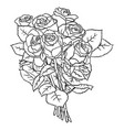 roses line art 04 vector image