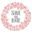 save date with pastel wreath vector image vector image