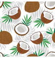 seamless pattern whole coconut and piece vector image vector image