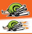 snail speed recing fast logo vector image
