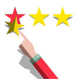 star rating concept hand and three paper cut vector image vector image