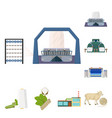 textile industry cartoon icons in set collection vector image
