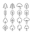 Tree thin line icons set vector image vector image