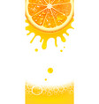 vertical banner with juicy orange and splashes of vector image