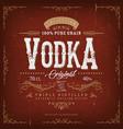 vintage vodka label for bottle vector image vector image