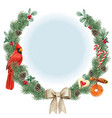 watercolor high quality christmas wreath with red vector image vector image