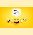 world laughter day banner laughing faces vector image