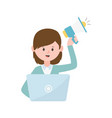 young woman with laptop and megaphone marketing vector image