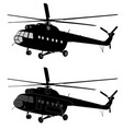 silhouette of russian mi-8 helicopter vector image
