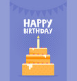 happy birthday card design with cake vector image