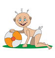 a child plays with a ball vector image vector image