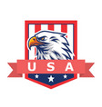 american eagle logo mascot flag background vector image