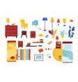 bedroom items set vector image vector image
