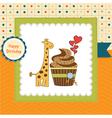 birthday greeting card with cupcake and giraffe vector image vector image