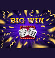 biw win gold design prize for casino jackpot vector image vector image