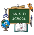 Blackboard with cartoon school supplies vector image vector image