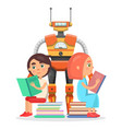 boy and girl read with big robot vector image vector image