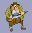 cartoon frightened man in hunter outfit with gun vector image vector image