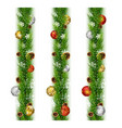 christmas garlands with balls and pine cones vector image vector image
