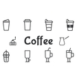 Coffee and cocktails outline elements and symbol vector image vector image