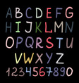 colorful handwritten alphabet on black vector image vector image