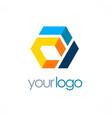 colorful shape polygon business logo vector image vector image