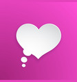 comic speech bubble heart shape in paper version vector image