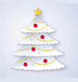cut paper style of christmas tree vector image