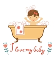 Cute baby having a bath vector image vector image
