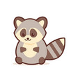 cute raccoon cartoon comic character with smiling vector image