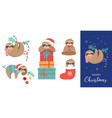 cute sloths funny christmas vector image