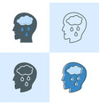 depression concept icon set in flat and line vector image vector image