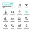 disabled people - line design icons set vector image