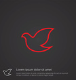dove outline symbol red on dark background logo vector image