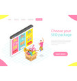 flat isometric landing page template seo vector image vector image
