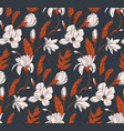 floral bouquet dark seamless pattern with vector image vector image
