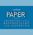 font paper cut and alphabet script typeface vector image vector image