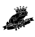 frog prince waiting to be kissed holding a heart vector image vector image