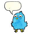 funny cartoon bird with thought bubble vector image vector image