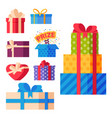 gift boxes pack composition event greeting object vector image