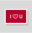 greeting card i love you with text and heart vector image vector image