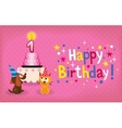 happy first birthday card vector image vector image