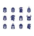 helmets set spartan greek and roman gladiator vector image vector image